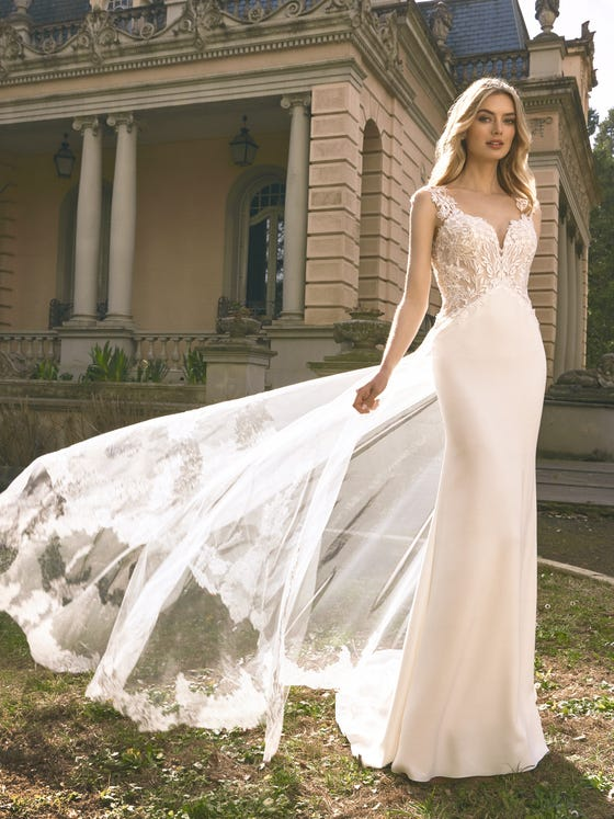 parte delantera vestido novia sirena escote pico isobel